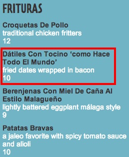 Jaleo Las Vegas Bacon Menu