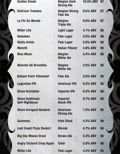 Pizza Rock Downtown Las Vegas Draft Beer List