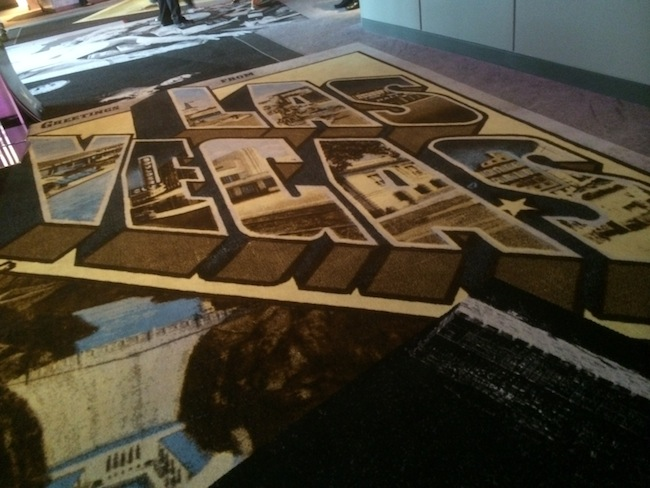 Welcome To Las Vegas Vintage Postcard Carpet at SLS Las Vegas