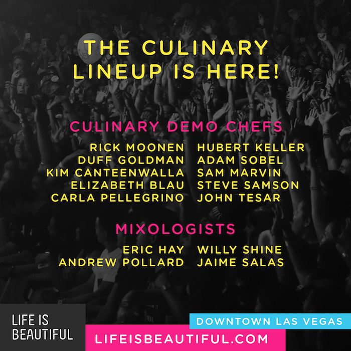 Life Is Beautiful Culinary Experience Announced