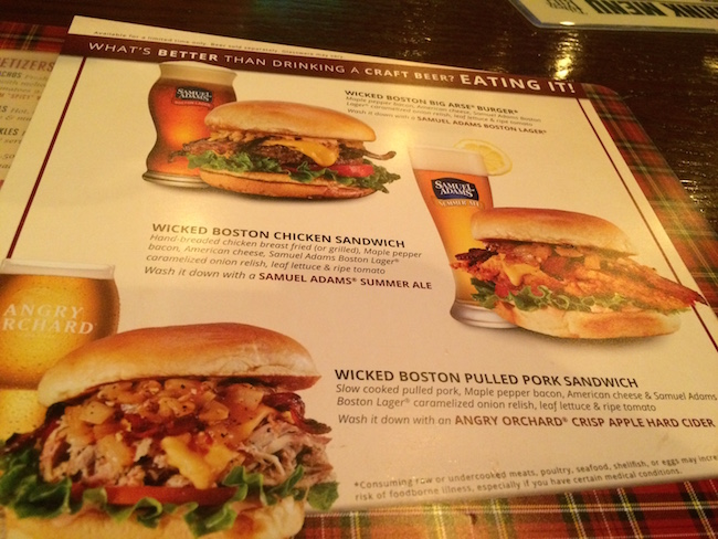 Sam Adams Menu at Tilted Kilt